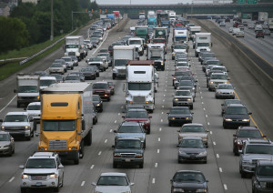 Southbound traffic on I-75 as seen from Allgood Road, south of the I-575 merge. Credit Bob Andres AJC bandres@ajc.com
